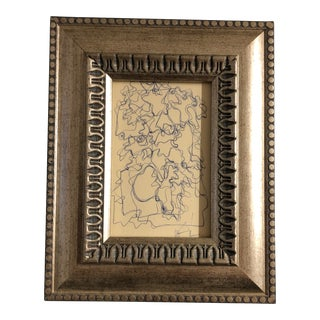 Original Small Wayne Cunningham Vintage Abstract Ink Drawing Framed For Sale
