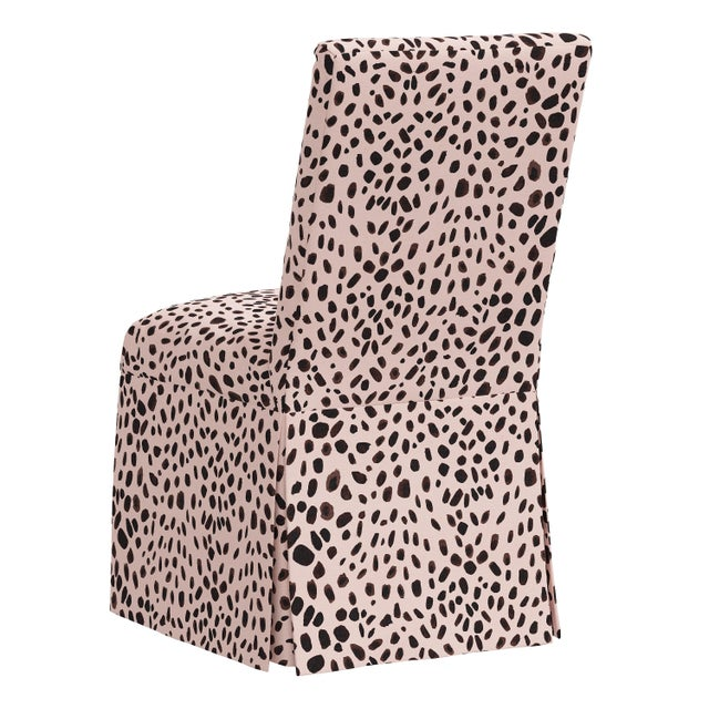 Slipcover Dining Chair in Washed Cheetah Pink Black For Sale - Image 4 of 8