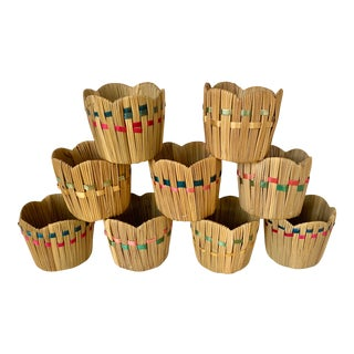 Vintage Boho Chic Raffia Coozie Cup Holders - Set of 9 For Sale