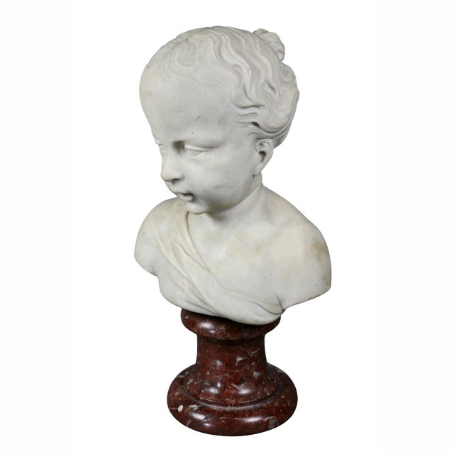 Louis XVI Marble Bust of a Young Boy For Sale - Image 4 of 7