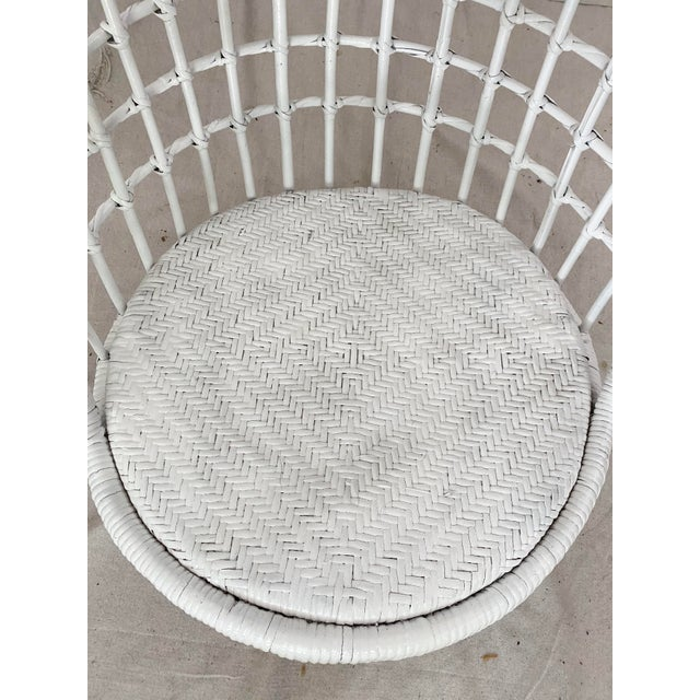 White Vintage Hanging Rattan Egg Chair For Sale - Image 8 of 13