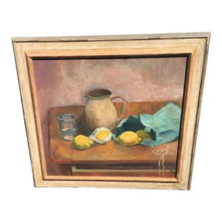 1940s Vintage Walter Strich-Chapell Still Life Oil on Board Painting For Sale