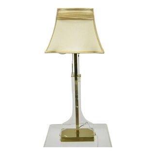 Vintage Mid Century Modern Lucite & Brass Laurel Sculptural Table Lamp For Sale