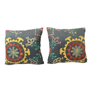 Pair of Vintage Colorful Suzani Embroidery Pillows