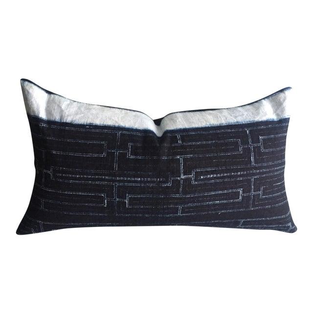 Rustic Indigo Stripe Hmong Lumbar Pillow Cover - Image 1 of 8