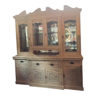 Late 19th Century English Carved Display Wall Cabinet / Secretary Desk