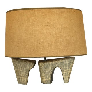1950s Mid Century Modern Pottery Lamp With Oval Linen Shade For Sale