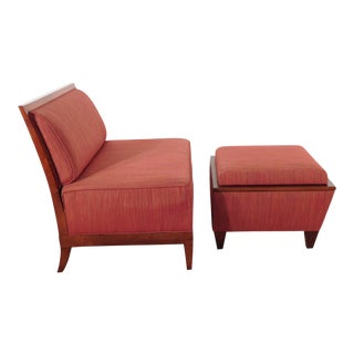Modern Baker Furniture Company Archetype Armless Lounge Chair & Ottoman For Sale