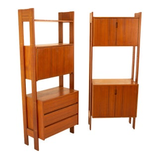 Mid Century Walnut 2 Door Wall Unit Cabinet - Pair For Sale