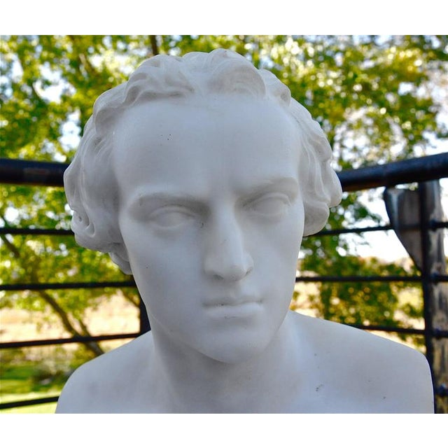 Pair of Mid-19th Century Marble Busts of Schiller and Goethe For Sale - Image 4 of 6