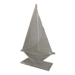 Vintage Modern Lucite Sailboat Figurine For Sale