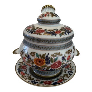 20th Century Vintage French Opaline Glass Tureen With Lid and Plate For Sale