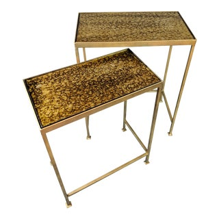 Art Deco Solid Metal Base Nesting Tables - Set of 2 For Sale