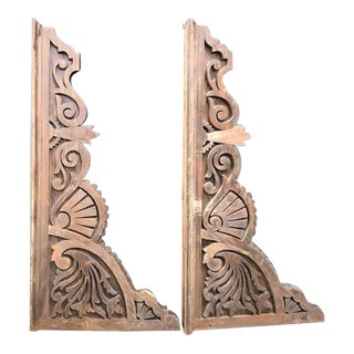 1920s Carved Wood Corbels - a Pair For Sale