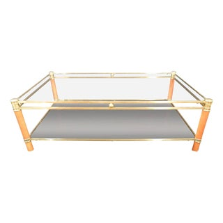 Quality Vintage French 1960s Brass and Wood Coffee Table For Sale