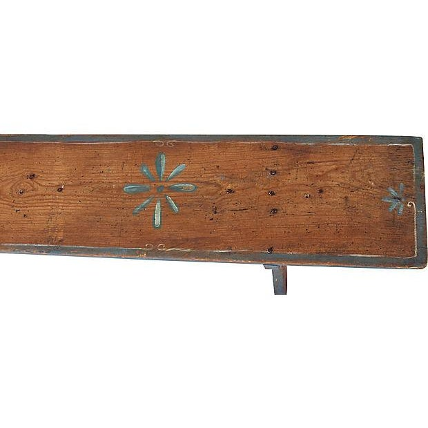 Paint 1930s Hand-Painted Farmhouse Country Bench For Sale - Image 7 of 13