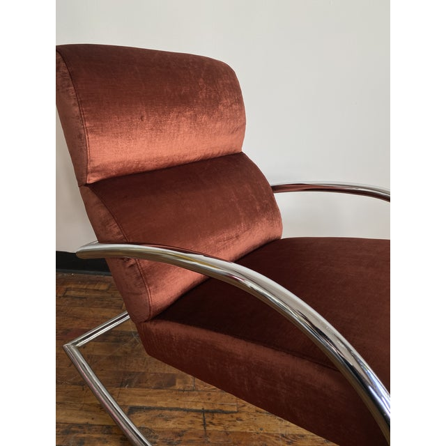 Chrome and rust velvet mid century rocking chair. Newly reupholstered!