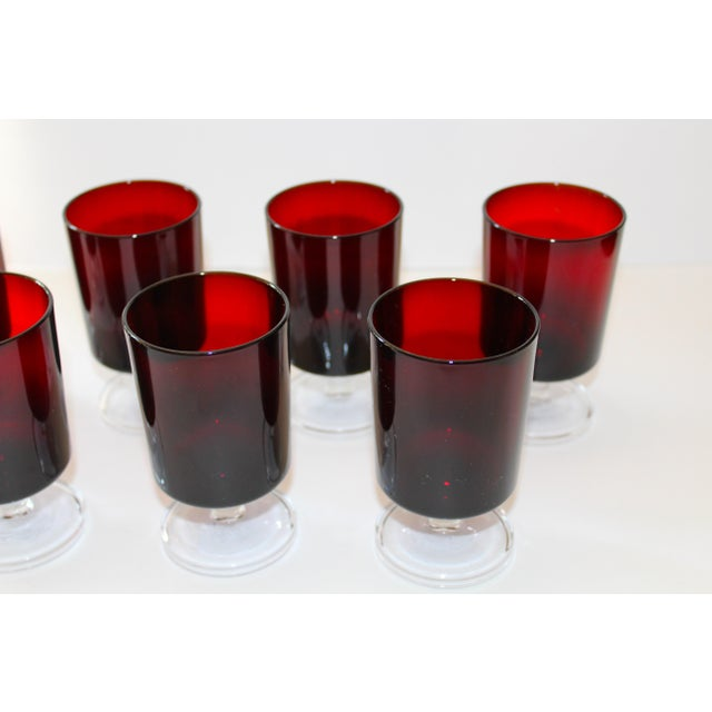 Set of 8 Mid-Century Modern Crystal Wine Glasses in Red, 1960's For Sale - Image 9 of 13