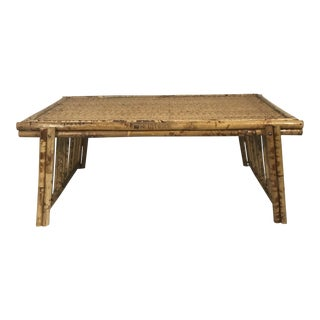 20th Century Chinoiserie Tortoise Shell Bamboo & Rattan Folding Bed Tray Table For Sale