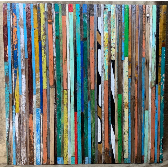 Abstract Reclaimed Wood Wall Sculpture For Sale - Image 13 of 13