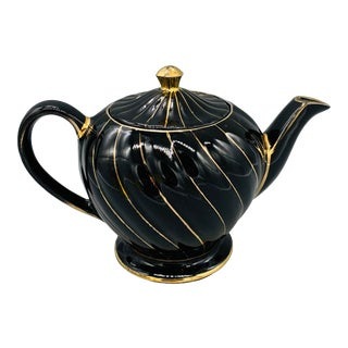 Vintage Sadler Black and Gold Teapot For Sale