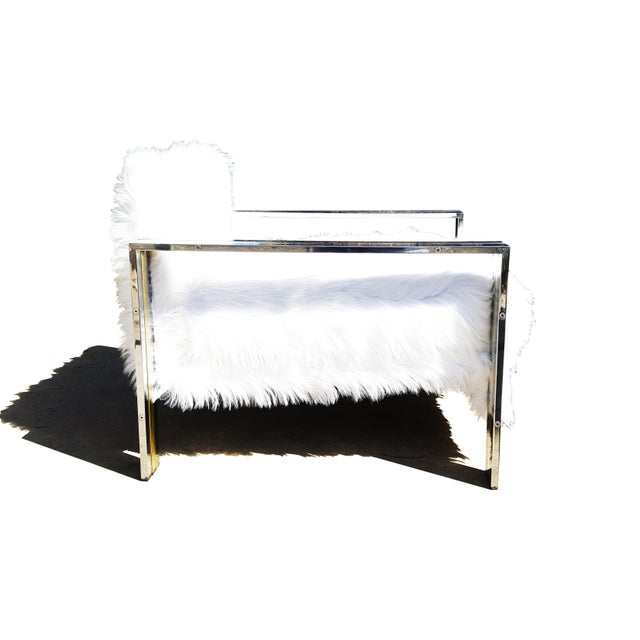 Hollywood Regency Brass & Chrome Faux Sheepskin Armchair For Sale - Image 3 of 8
