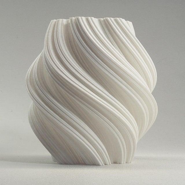 3d Printed Fractal Spiral Vase Decorative Led Luminary White