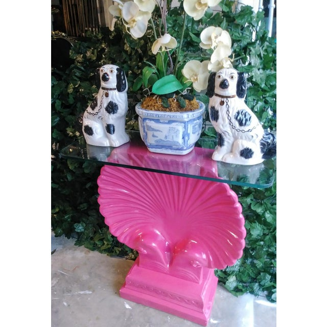 Pink Clam Shell Bright Pink Palm Beach Regency Console Table Base Grosfeld House Style For Sale - Image 8 of 11