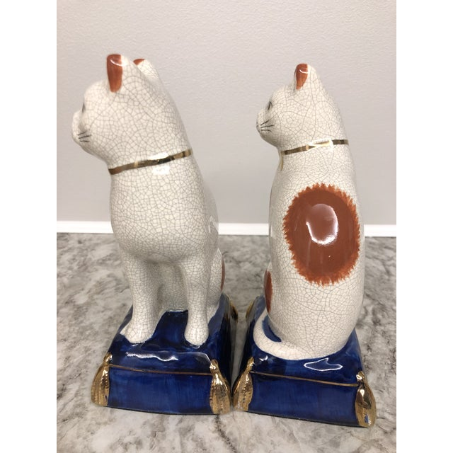 1960s Vintage Fitz and Floyd Calico Cat Bookend Statues - a Pair For Sale - Image 5 of 9