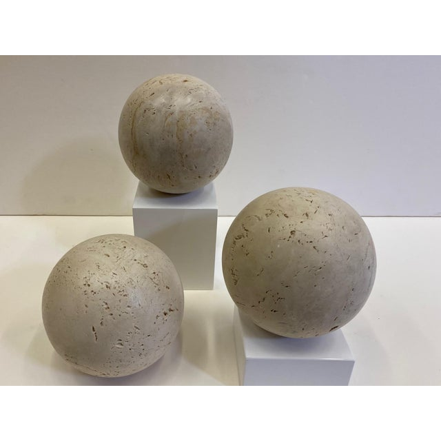 Stone Round Italian Marble Balls - Set of 3 For Sale - Image 7 of 10