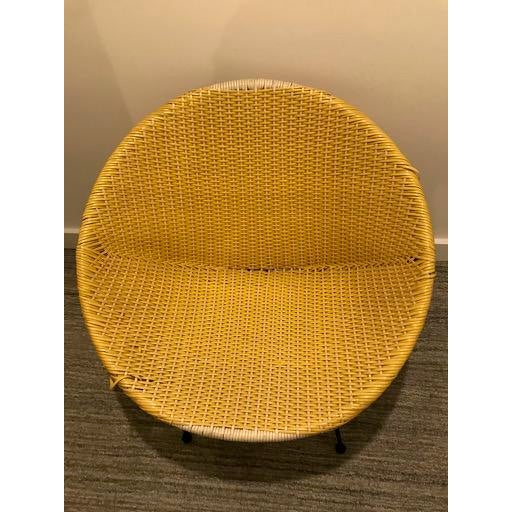 Vintage Mid-Century Atomic Vinyl Yellow Basket Chair For Sale - Image 12 of 13