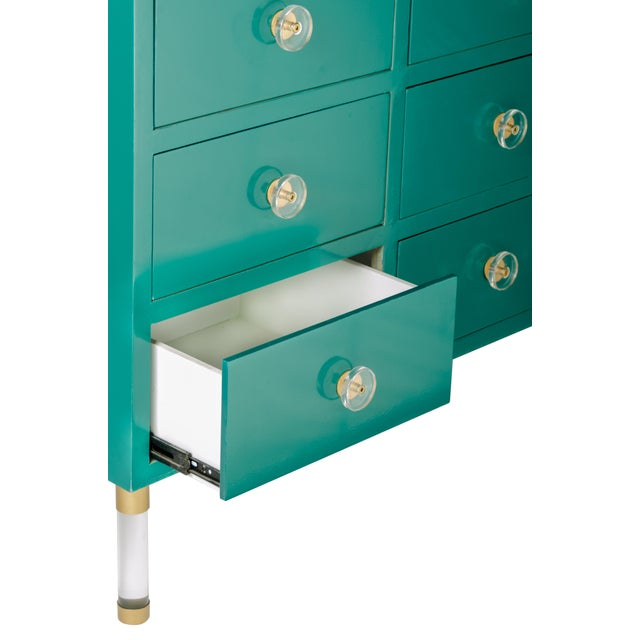 New console with 9 drawers can be used as a dresser as well. Materials: Wood, acrylic, metal Measurements:...