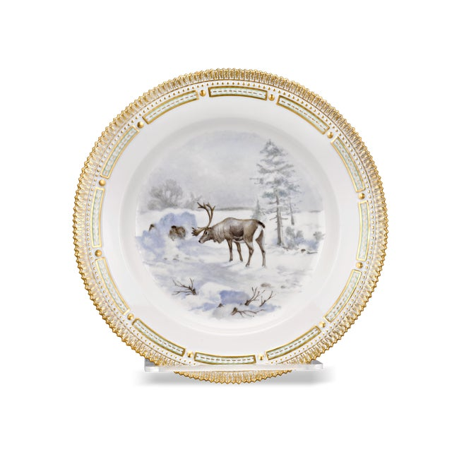 Traditional Flora Danica Reindeer Dinner Plate For Sale - Image 3 of 3