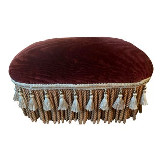 Late 20th Century Vintage Cotton Velvet Footstool For Sale
