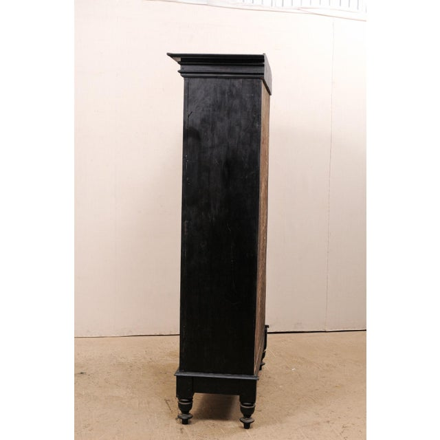 Tall Mid-20th Century British Colonial Ebonized Wood Cabinet For Sale In Atlanta - Image 6 of 12