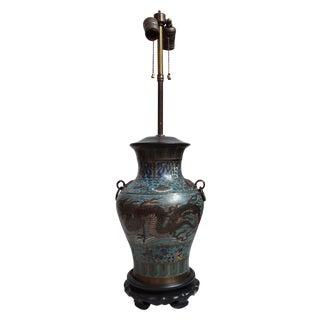 Vintage Japanese Champleve Urn Lamp For Sale