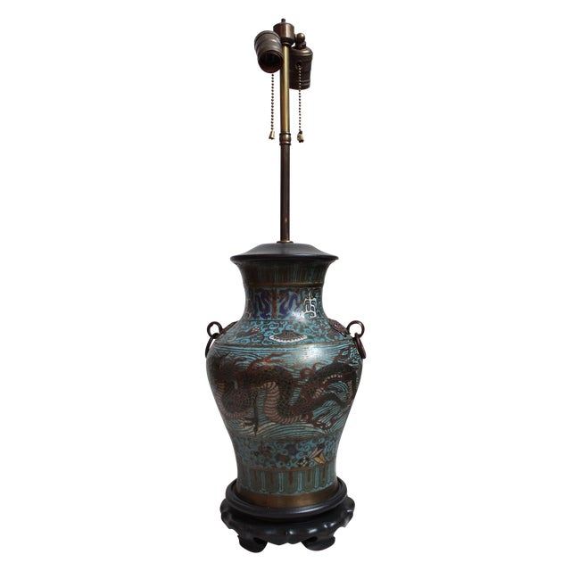 Vintage Japanese Champleve Urn Lamp For Sale