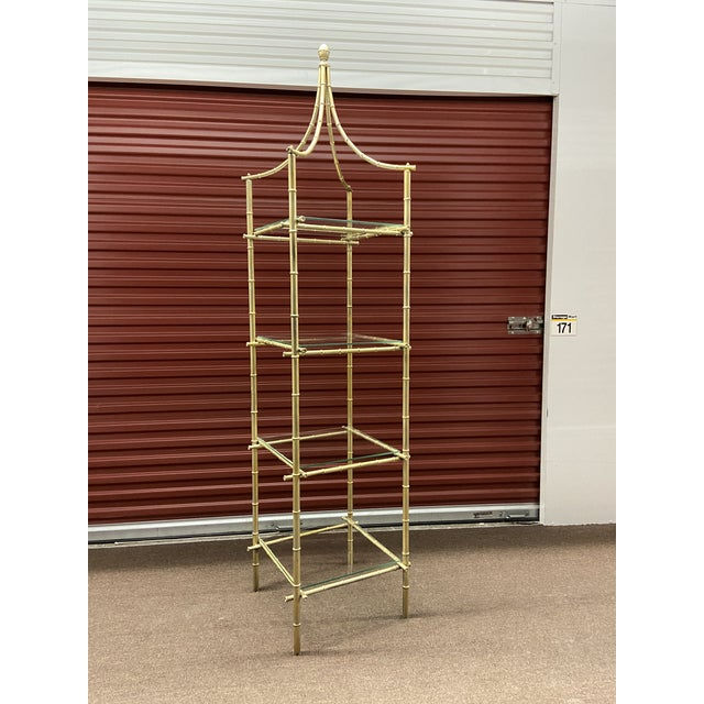 Metal Vintage Metal Faux Bamboo Etagere For Sale - Image 7 of 8