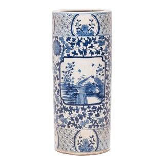 Blue and White Scroll Umbrella Vessel For Sale