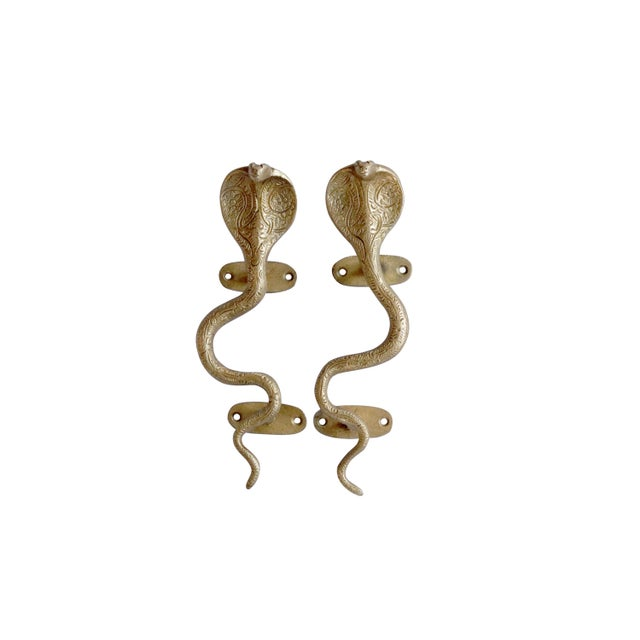 Gold Brass Cobra Door Handles - a Pair For Sale In New York - Image 6 of 6