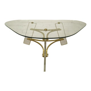 Mid-Century Lucite and Brass Base Coffee Table by Charles Hollis Jones
