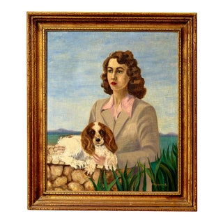 Oil on Canvas Painting of Lady With Cocker Spaniel For Sale