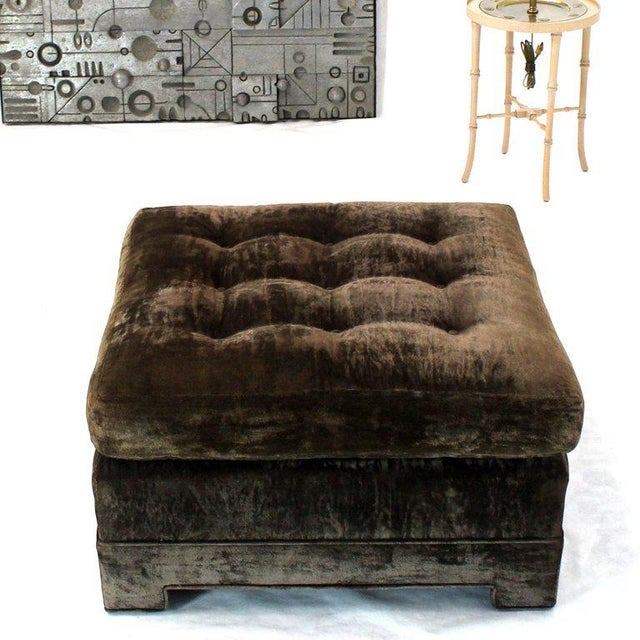 Mid-Century Modern Large Square Deep Bronze Velvet Upholstery Tufted Upholstery Ottoman Footstool For Sale - Image 3 of 11