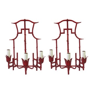Pair of Red Chinoiserie Bamboo Style Sconces
