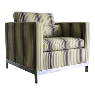 Martin Brattrud Chrome Frame Lounge Chair in Velvet For Sale