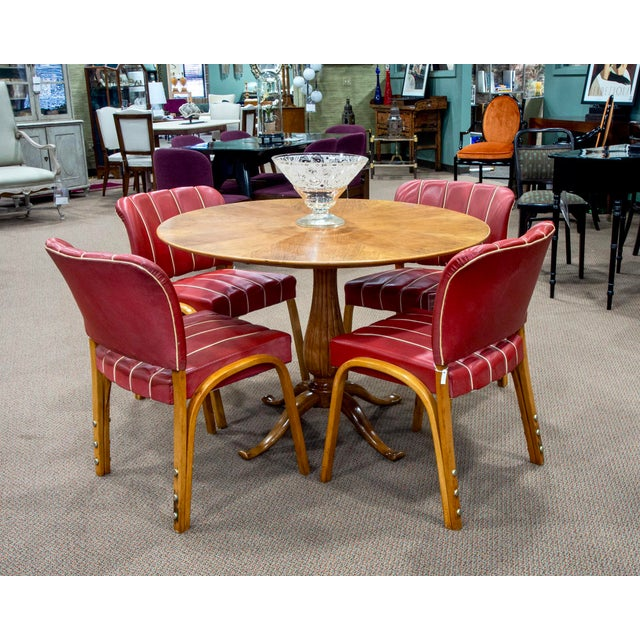 Set of six Italian beech bentwood casual dining chairs with original red vinyl upholstery, circa 1950s. Back of one chair...