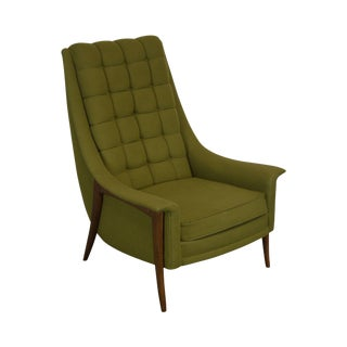 Kroehler Avant Designs Mid Century Modern Green Upholstered Lounge Chair For Sale