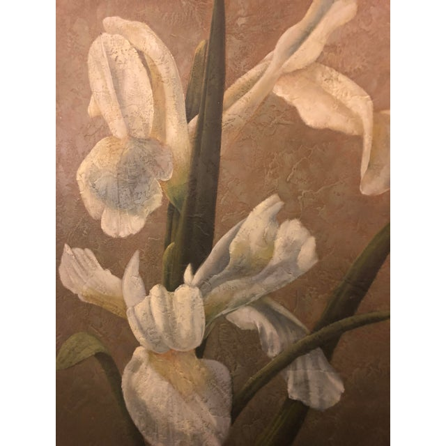 """Oil on Canvas painting featuring Columbian Catalina flower. Signed by artist. Dimensions: Framed 27.50 """" W - 33.5 """" H -..."""