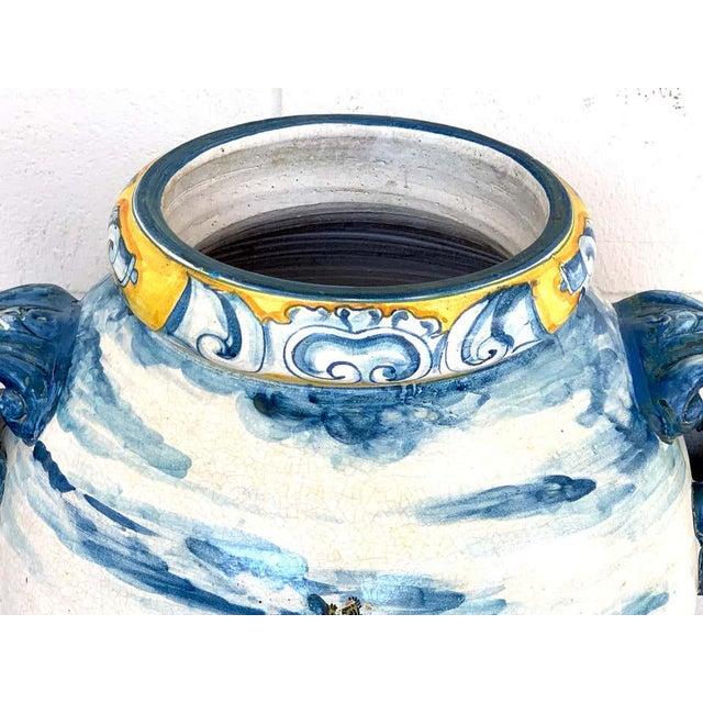 Blue Italian Majolica Landscape Olive Oil Jar/ Jardinière For Sale - Image 8 of 12
