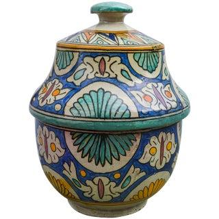 Moorish Ceramic Box W/ Fine Motif For Sale